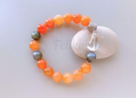 браслет оранжевый - сердолик, лабрадор, кварц
