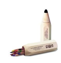 Карандаши цветные неокрашенный корпус jumbo 7004, 10 цветов в деревянном пенале-карандаше