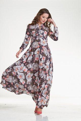 Платье для беременных и кормящих 10285 серые цветы