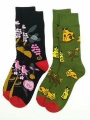Носки махровые цветные 2 пары (разм 39-42 ) арт В143/141/БЕЛКА+КОТЫ