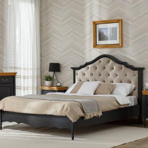 Кровать Айно 18 с мягким изголовьем (черный шер)