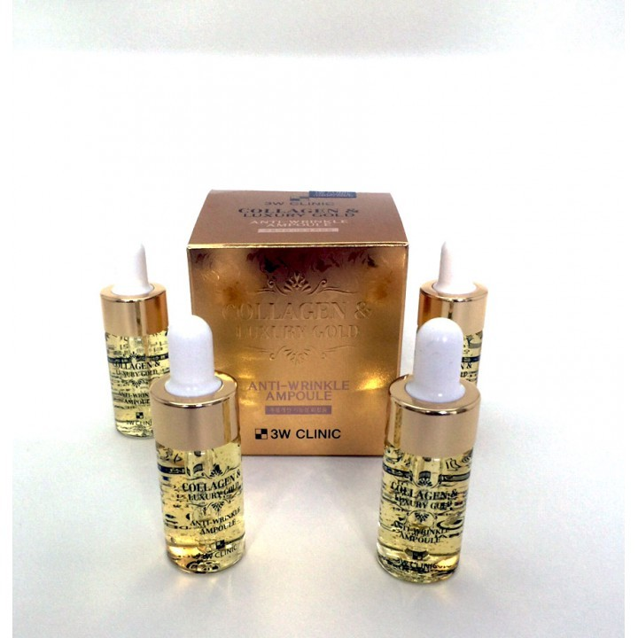 Антивозрастные ампулы на основе коллагена и золота 3W CLINIC COLLAGEN & LUXURY GOLD ANTI-WRINKLE AMPOULE