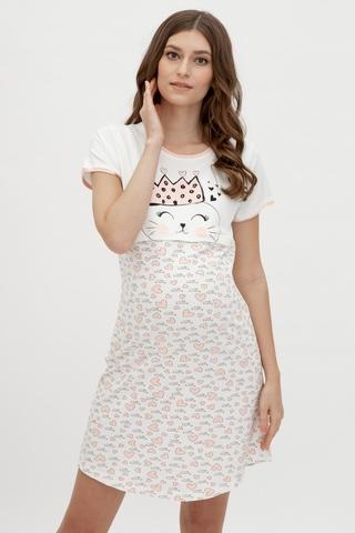 Ночная сорочка для беременных и кормящих 10668 молочный
