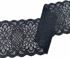 Эластичное кружево,22,5 см, черное, (Арт: EK-2241), м