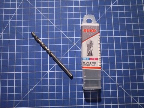 Сверло по металлу ц/x 5,0x86/52мм DIN338 h8 5xD TC(TCT вставка) 120° Ruko
