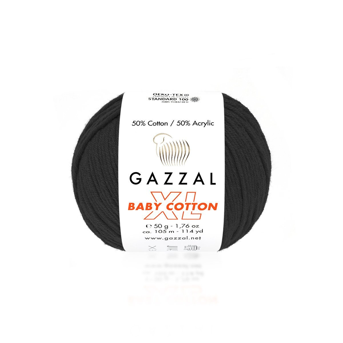 Пряжа Gazzal Baby Cotton XL 3433 черный