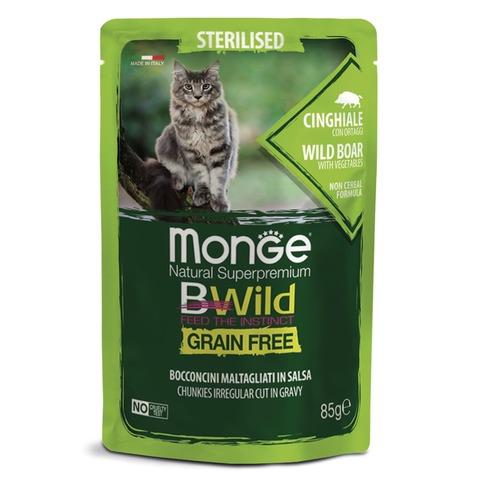 Monge Cat BWild Grain Free Консервы для стерилизованных кошек из мяса дикого кабана с овощами, беззерновые (пауч)