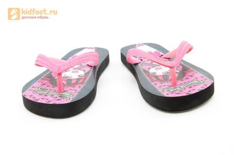Шлепанцы Монстер Хай (Monster High) пляжные сланцы для девочек, цвет черный розовый. Изображение 6 из 10.