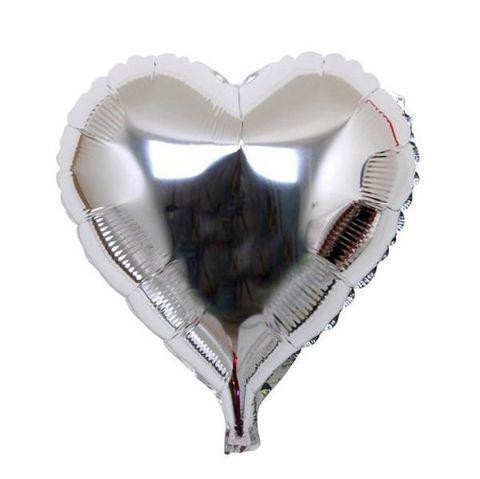 Сердце Металлик Серебро (46 см)