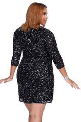 Shail K 7311-3  Платье большого размера, короткое, украшенное пайетками, цвет:черный,синий, оливковый