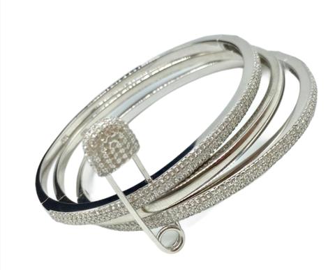 50340- Тройной браслет скрепленный булавкой из серебра с цирконами