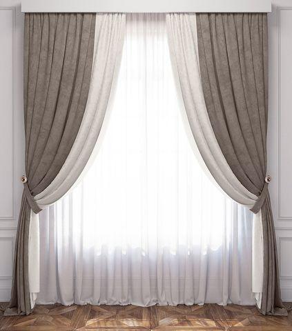 Комплект штор и покрывало Ламанш бело-серый