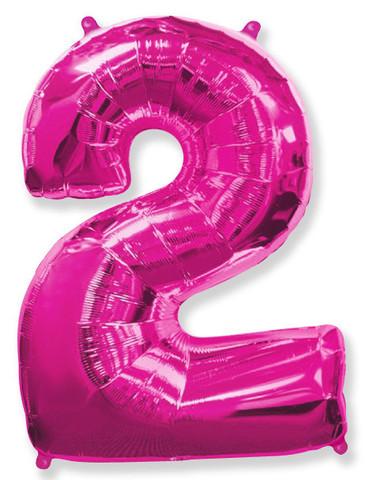 Воздушный шар (40''/102 см) Цифра, 2, Фуше, 1 шт.