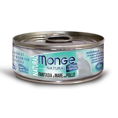 Monge Cat Natural консервы для кошек морепродукты с курицей 80г