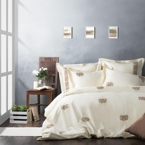 Комплект постельного белья сатин Сэлмон сливочный
