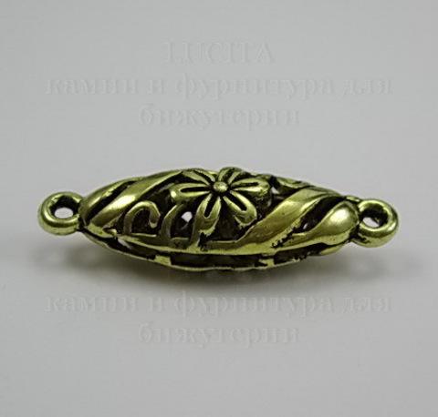 """Коннектор """"Ажурный овал"""" (1-1) 30х9 мм (цвет - античное золото) ()"""