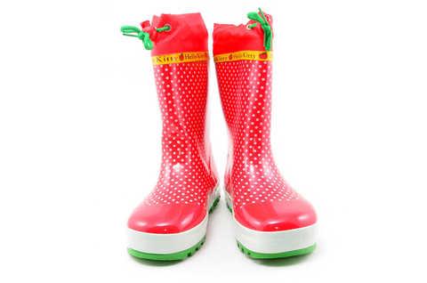Резиновые сапоги для девочек утепленные Хелло Китти (Hello Kitty), цвет красный. Изображение 4 из 11.