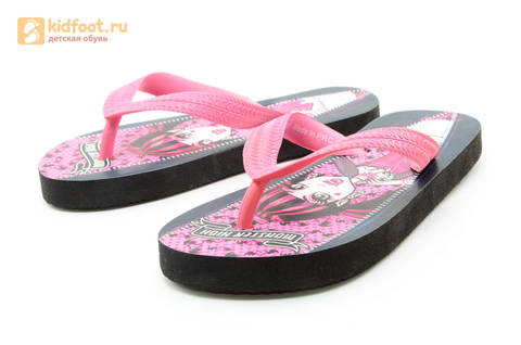 Шлепанцы Монстер Хай (Monster High) пляжные сланцы для девочек, цвет черный розовый. Изображение 7 из 10.