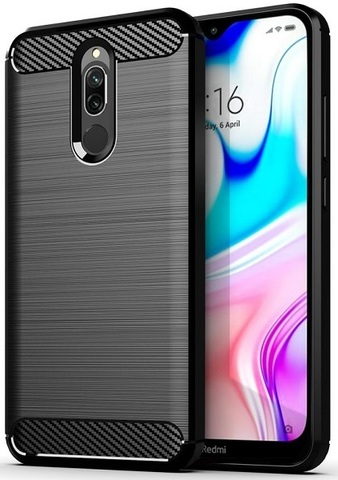 Чехол Xiaomi Redmi 8 цвет Black (черный), серия Carbon, Caseport