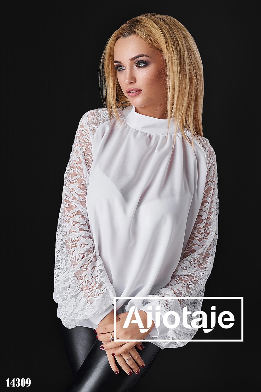 Легкая шифоновая блузка белого цвета