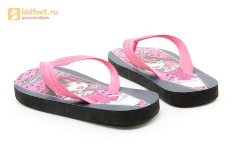 Шлепанцы Монстер Хай (Monster High) пляжные сланцы для девочек, цвет черный розовый. Изображение 8 из 10.