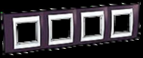 Рамка на 4 поста. Цвет Гранат/Белый. Schneider electric Unica Хамелеон. MGU6.008.872