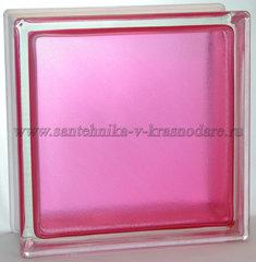 Стеклоблок розовый арктик окрашенный изнутри Vitrablok 19x19x8