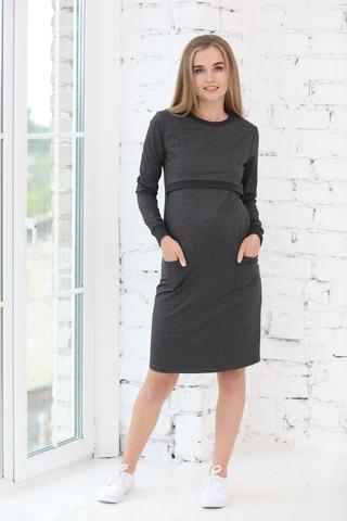 Платье для беременных и кормящих 09967 темно-серый