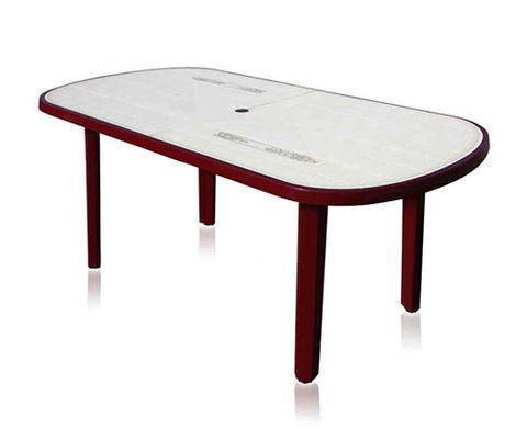 Пластиковый стол овальный с рисунком бордовый