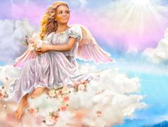 Картина раскраска по номерам 40x50 Девушка-ангел на небесах