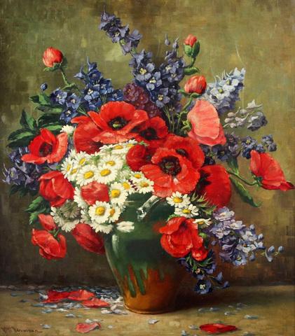 Картина раскраска по номерам 50x65 Букет с маками и ромашками