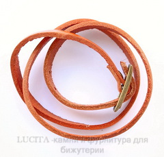 Браслет (кожа) цвет - охра + античная бронза 520х8,5 мм