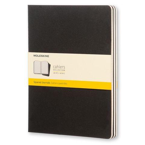 Блокнот Moleskine CAHIER JOURNAL QP322 XLarge 190х250мм обложка картон 120стр. клетка черный (3шт)
