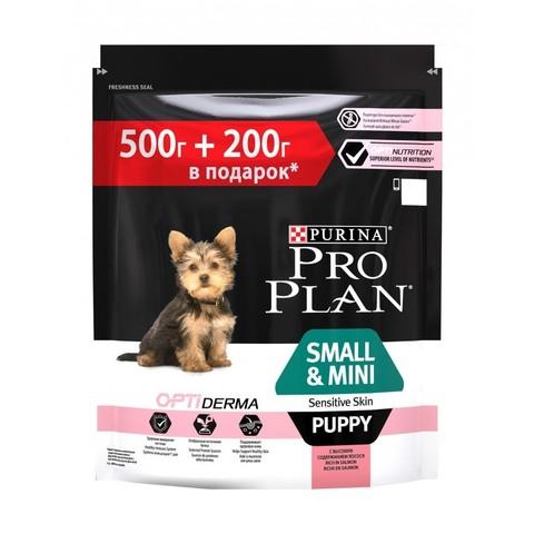 ПРОМО! Pro Plan сухой корм для щенков мелких пород с чувствительной кожей 500+200 г
