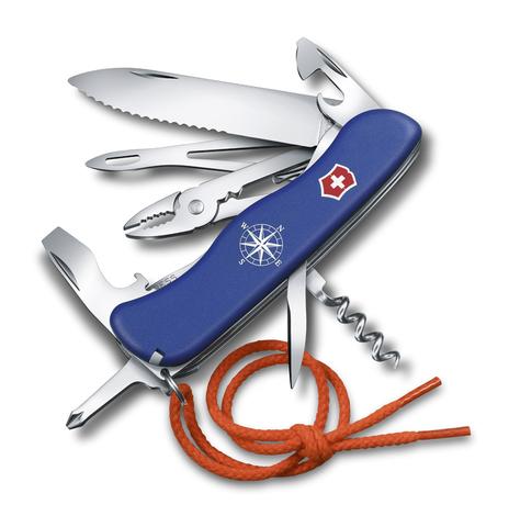Нож Victorinox Skipper, 111 мм, 17 функций, с фиксатором лезвия и шнурком, синий123