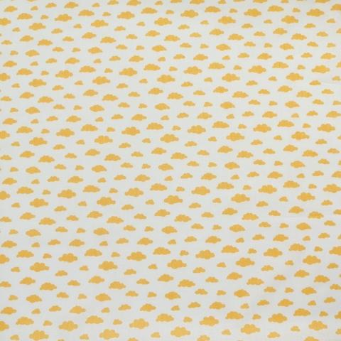 Ткань хлопковая горчичные облачка на белом, отрез 50*80см