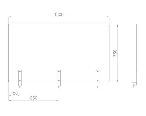 Настольный экран на струбц. Ш.1300мм В.600/750 мм