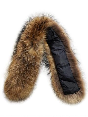 Опушка меховая на капюшон из натурального меха енот 65 см.