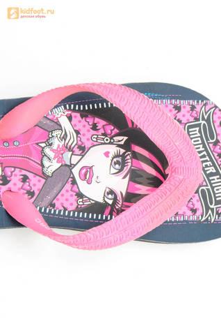 Шлепанцы Монстер Хай (Monster High) пляжные сланцы для девочек, цвет черный розовый. Изображение 2 из 10.
