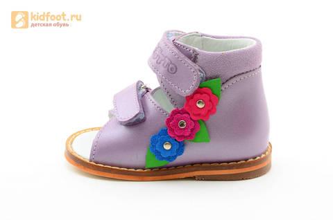 Босоножки на первый шаг Тотто из натуральной кожи на липучках для девочки, цвет сирень. Изображение 3 из 16.