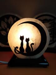 Солевая лампа Влюбленные коты 1,3-2кг