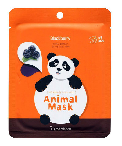 BERRISOM ПАНДА Тканевая маска для лица с экстрактом ежевики - Animal mask series / Panda
