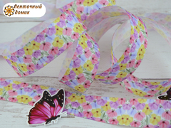 Лента репсовая Разноцветные полевые цветы 25 мм (намотка 10 м)