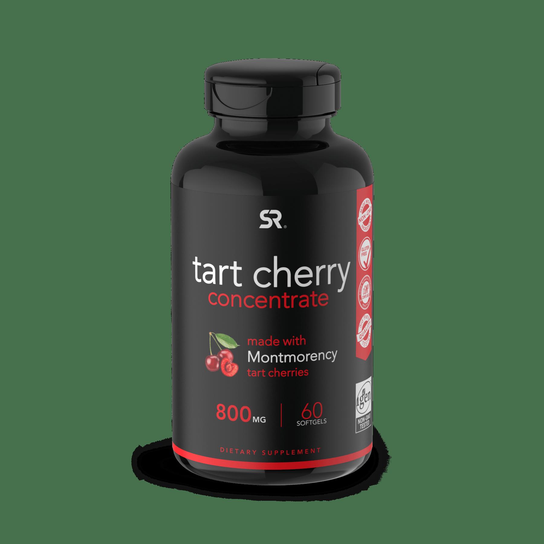 Концентрат вишни, Tart Cherry 800mg, Sports Research (60 капсул)