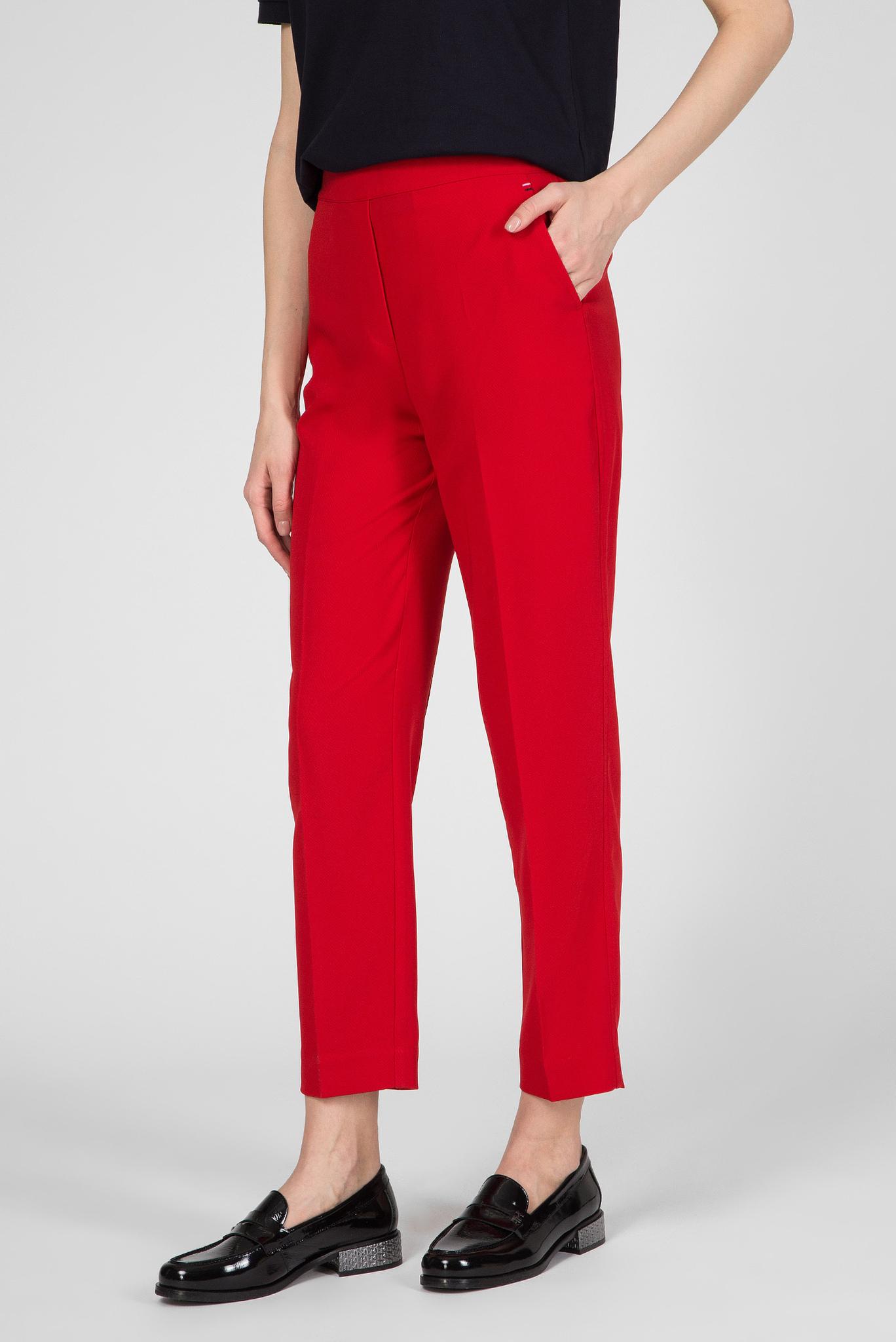 Женские красные брюки TH ESS POLY TWILL TAPERED Tommy Hilfiger