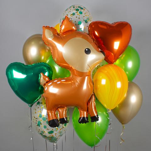 Фонтан из воздушных шаров Олененок