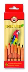 Карандаши цветные неокрашенный корпус jumbo NATUR 2171, 6 цветов
