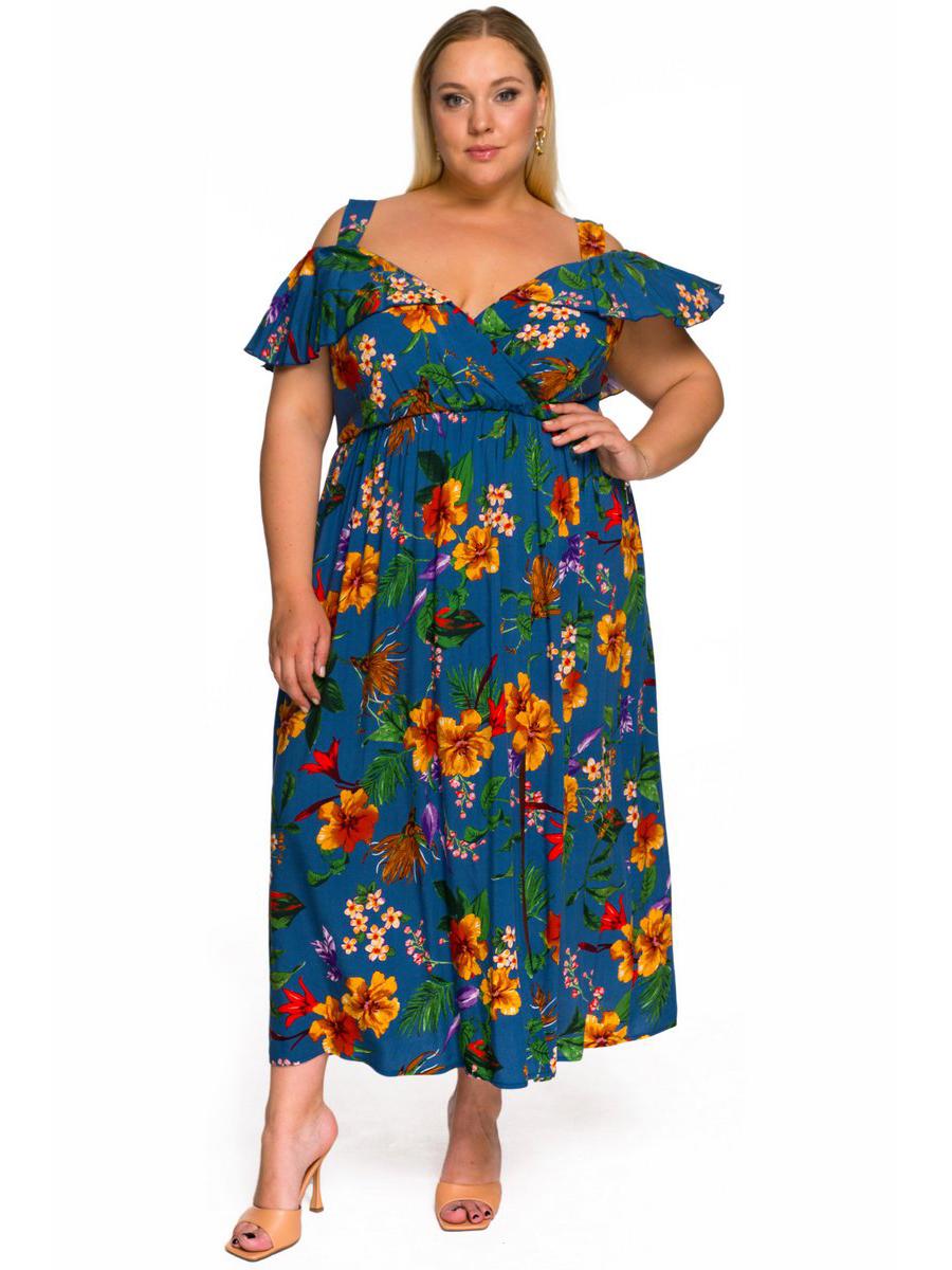 Платье с крылышком Цветы на синем