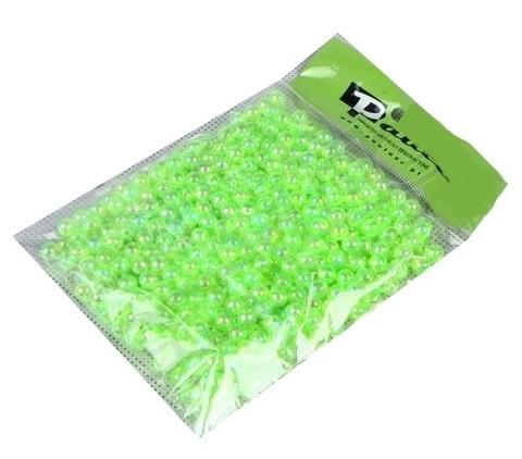 Бусинки в пакете 10 мм, пластик, 50 г, цвет: салатовый