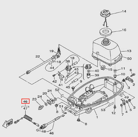 Кнопка аварийной остановки для лодочного мотора T5 Sea-PRO (7-46)